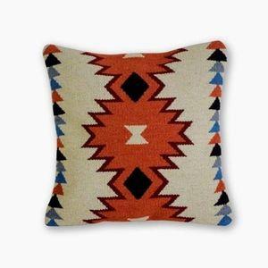 Bohemian kilim pillow in terracotta color